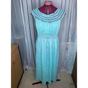 nightgown satin Vintage sheer ruffle collar aqua